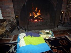 soup by fire and knit blanket