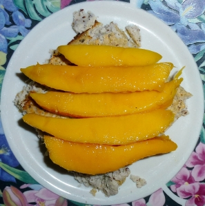 coconut pancake with mango slices