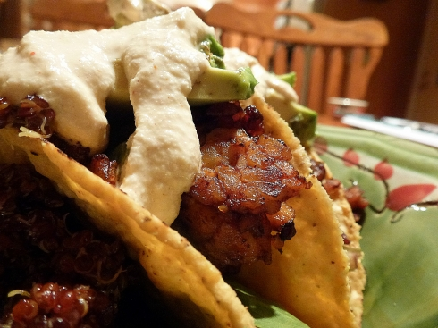 spicy agave glazed tempeh taco