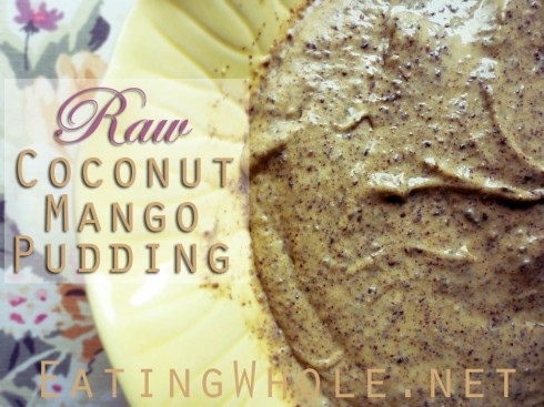 raw coconut mango pudding title